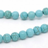 Howlite beads, turqese, 8mm, +/- 54 pcs