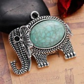 Hanging elephant with howlite, 1 pce