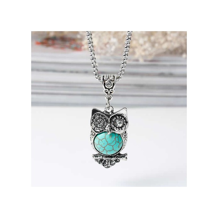 Necklace with pendant Howlite Owl, 1 pce