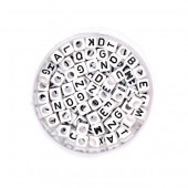 Plastic beads with letters, black/white mix, +/- 300 pcs