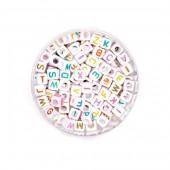 Cuentas de plastica con letras, mix, +/- 300 pz