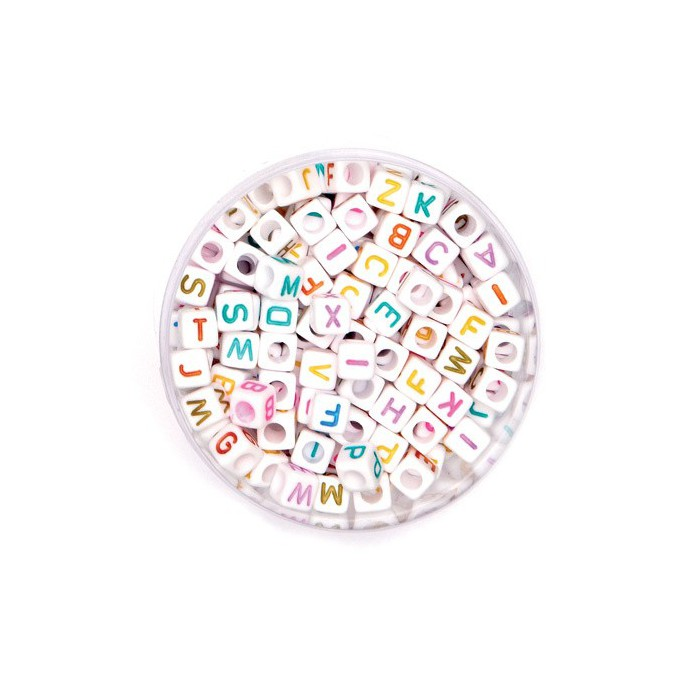 Plastic beads with letters, mix, +/- 300 pcs