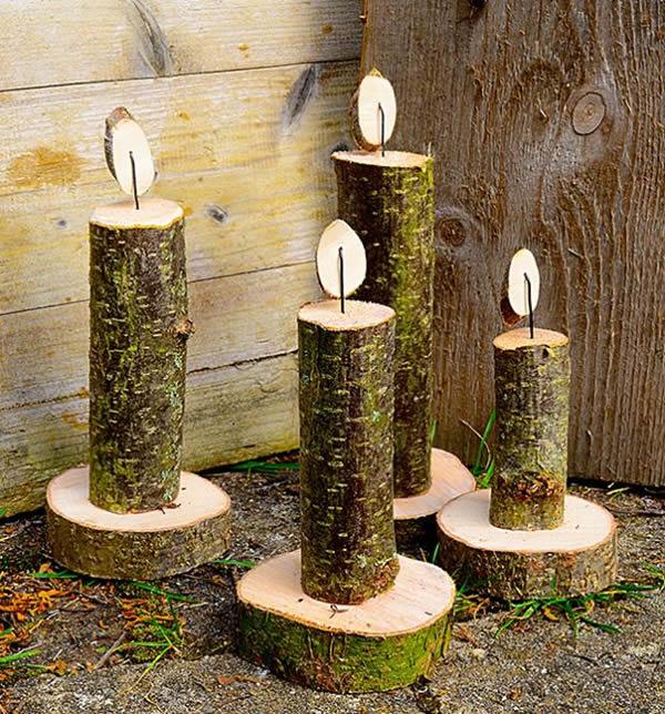 Fiche cr ative anges en b ches de bois brut - Gartenfiguren aus holz ...